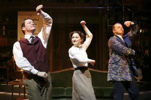 Domini West as professor Higgins, Carly Bawden as Eliza and Antony Calf as colonel Pickering. Photo Donald Cooper.