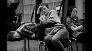 Mike Noble, Liz White and Kate O'Flynn in rehearsal. Photo Kevin Cummins.