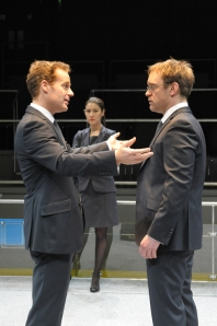 From left: Adam James as Tony, Eleanor Matsuura as Isobel and Sam Troughton as Thomas. Photo Robert Day.