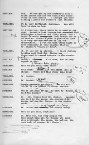 Hand-corrected typescript of Tom Stoppard's Arcadia. © Tom Stoppard. From the Harry Ransom Centre website.