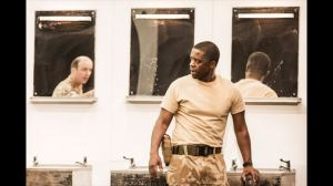 Rory Kinnear as Iago, Adrian Lester as Othello. Photo Johan Persson