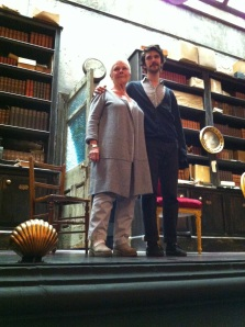 Judi Dench and Ben Whishaw, after a performance on the set of Peter and Alice