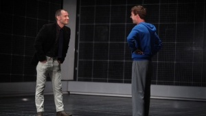 Jude Law and Christopher (Luke Treadaway) on stage at A Curious Night at the Theatre. Photo Ellie Kurttz