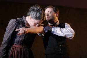 Aisling O'Sullivan as Croce Azzara, Rory Keenan as Liola. Photo Catherine Ashmore