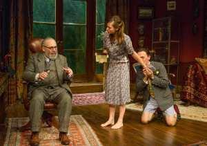 Antony Sher (Freud), Lydia Wilson (Jessica) and Adrian Schiller (Dali) in Hysteria
