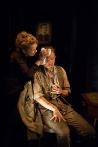 Lesley Manville as Helene Alving and Jack Lowden as Oswald Alving.  Photo Hugo Glendinning