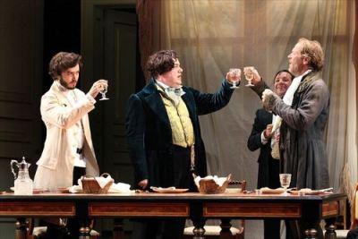 Alexander Vlahos (Pavel), Richard McCabe (Tropatchov), Richard Henders (Karpatchov), Iain Glen (Kuzovkin).  Photo Sheila Burnett