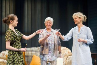 Shannon Tarbet (Avery), Polly Adams (Alice) and Emilia Fox (Catherine). Photo Alastair Muir