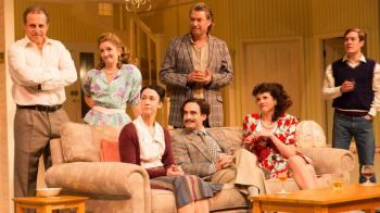 Nigel-Lindsay (Jack) Debra Gillett (Poppy) Stephen Beckett (Cliff) Samuel Taylor (Roy) Niky Wardley (Anita) Gerard Monaco (Rivetti Brother) Amy Marston (Harriet). Photo by Johan Persson