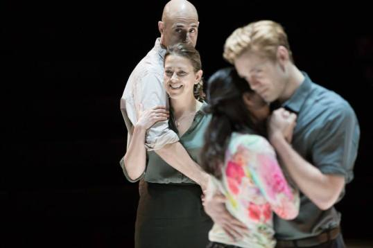 Mark Strong (Eddie), Nicola Walker (Beatrice), Phoebe Fox (Catherine) and Luke Norris (Rodolpho). Photo by Jan Versweyveld