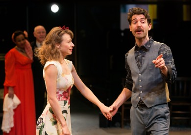 Ellie Piercy as Beatrice, Paul Ready as Benedick. Photo Jonathan Keenan