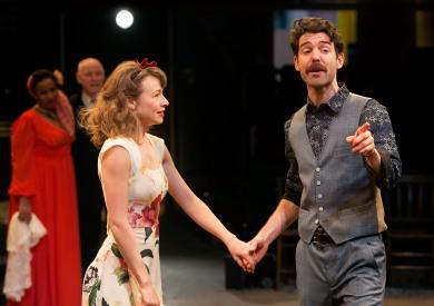 Ellie Piercy as Beatrice, Paul Ready as Benedick. Photo Jonathan Keenan