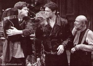 Left to right: Colin Firtth, Peter Howitt, Donald Pleasance. The Caretaker at the Comedy Theatre. 1991. From