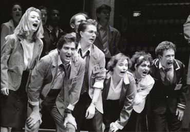 From left to right: Lesley Manville, Julian Wadlam, Gary Oldman, Linda Bassett, Meera Syal, Allan Corduner in Caryl Churchill's  Serious Money. Royal Court 1987