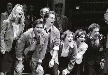 From left to right: Lesley Manville, Julian Wadlam, Gary Oldman, Linda Bassett, Meera Syal, Allan Corduner in Caryl Churchill's  Serious Money. Royal Court 1987