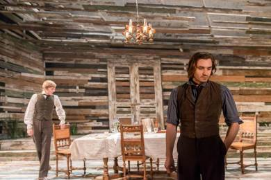 Joshua James as Arkady (background), Seth Numrich as Bazarov (foreground). Photo Johan Persson