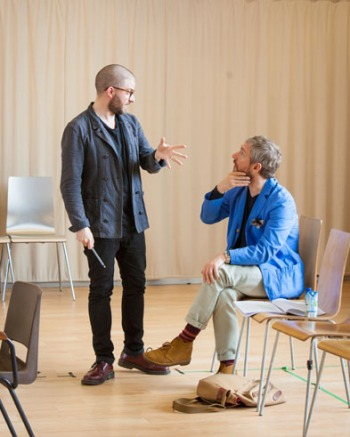 Jamie lloyd and martin freeman in rehearsal. photo marc brenner