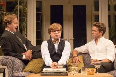 Geoffrey Streatfeild as Daniel, Jonathan Broadbent as Guy and Julian Ovenden as John. Photo Johan Persson