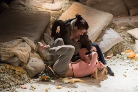Ellie Kendrick as Rolly and Sinead Matthews as Pink in Pests. Photo Jonathan Keenan