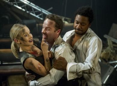 Imogen Doel, Jonjo O'Neill (as James Bond) and Nathaniel Martello-White. Photo Alastair Muir