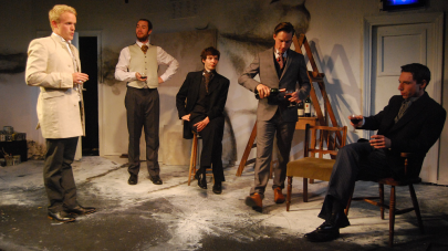 From L-R: Bosie (Tom Cox), Ricketts (Oliver Allan), Gray (Patrick Walshe McBride), Shannon (Jordan McCurrach) and Raffalovich (Christopher Tester). Photo Miriam Mahony