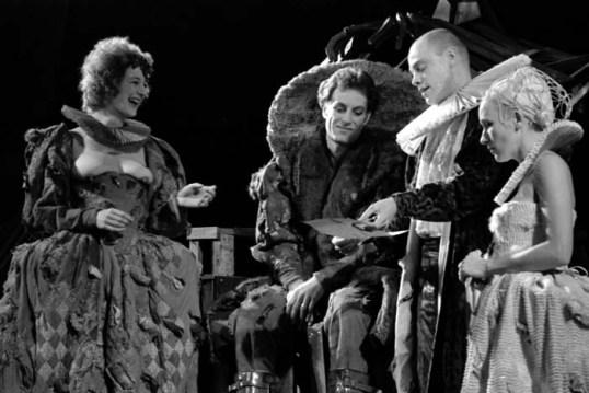 Maggie Steed as Gertrdude, Sam Cox as Claudius, Robin Hooper as Polonius, Judy Lloyd as Ophelia. Photo Donald Cooper