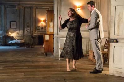 Kate Duchene as Lyubov Ranevskaya, Dominic Rowan as Alexander. Photo Stephen Cummiskey