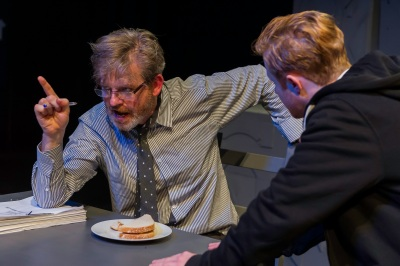 Ruairi Conaghan and Conor MacNeill in Ira Provitt and The Man. Photo  Jeremy Abrahams